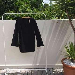 Forever21 Flared-Sleeve, Deep-V Mini Dress - Black
