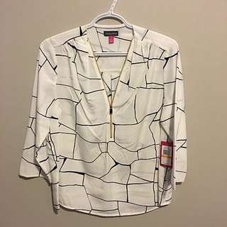 Vince Camuto White And Black Blouse
