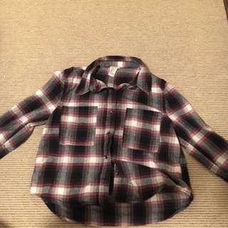 Plaid Cropped Long Sleeve Button Up