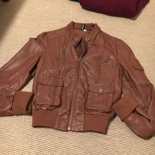 Brown H&M (Divided) Faux Brown Leather Jacket