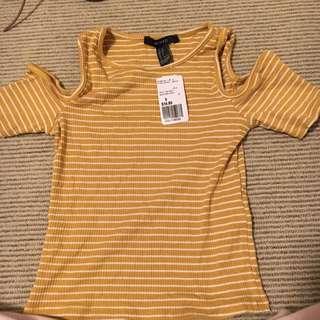 Shoulderless Yellow Striped Shirt