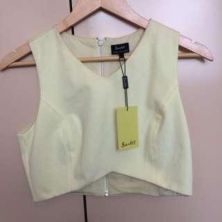 Bardot Yellow Aria Crop Top
