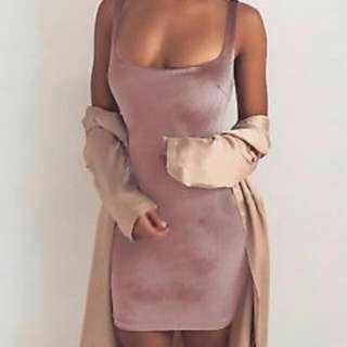 BNWT Musk Pink Velvet Stretch Bodycon Mini Singlet Dress M