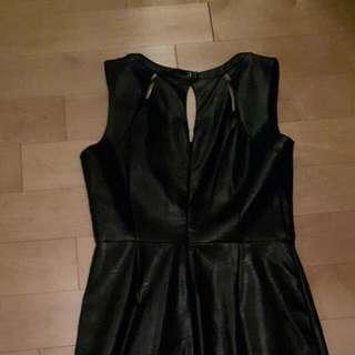 Leather Like Black Dress