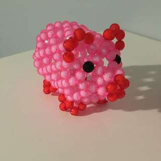 Hand Made Pigs Out Of Beads