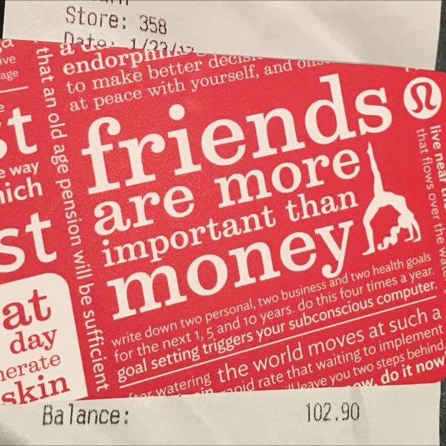 $102.90 Lululemon Gift Card
