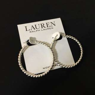 美國 RALPH LAUREN 銀色經典耳環