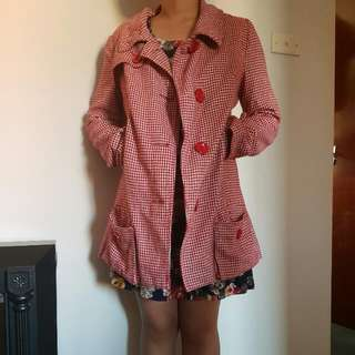 Red Houndstooth Coat - Size 10 To 12