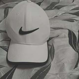 White Nike Hat With Black Swoosh