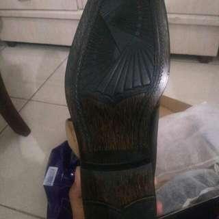 Marco Cuomo Italy Black Formal Shoes Wood Soles Ori Obral Santai