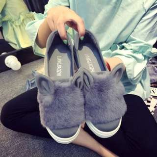 Grey Bunny Loafers Size 6
