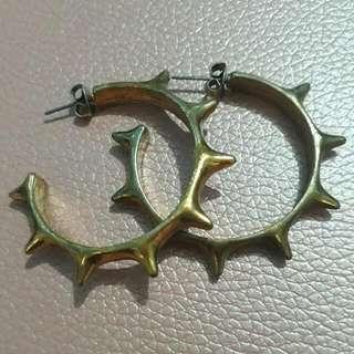 Earrings Bronze Studded Hoop