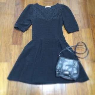 韓國高質感黑色小洋裝 愛心 半透 薄紗