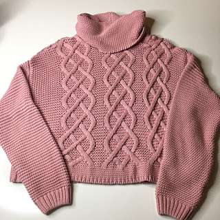 Tiger Mist Chunky Light Pink Cable Knit Jumper