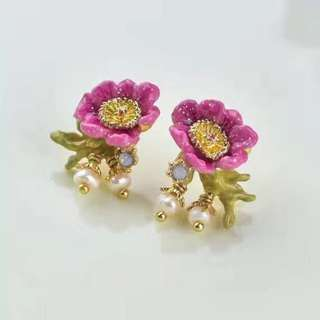 Les Nereides Flower Stud Earrings Pre