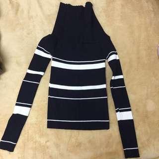 合身設計高領針織上衣