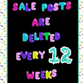 All Sales Posts Will Be Deleted after 12 Weeks