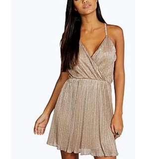 Boohoo Metallic Gold Glitter Rain Dress