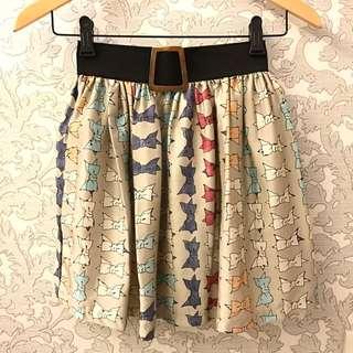 古著感蝴蝶結滿版短裙