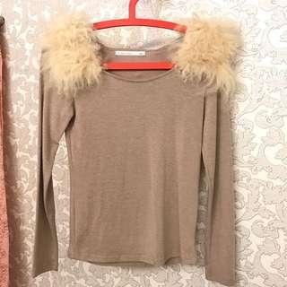 韓版羔羊毛緊身上衣