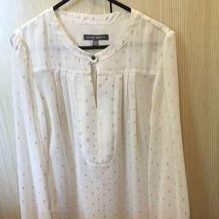 Laura Ashley Long Sleeve White Shirt Size 8