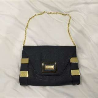 Topshop Clutch Bag With Gold Metal Chain