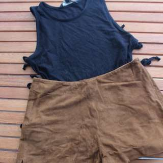 Glassons Black Top S And Zara Mini Shorts