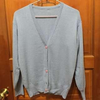 藍色針織毛衣外套