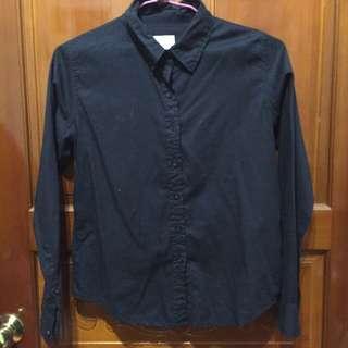 黑色棉質襯衫