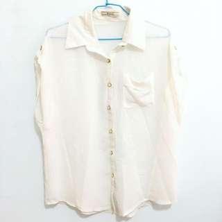 白色鈕扣寬袖雪紡襯衫