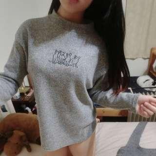 Miluku針織貓咪刺繡上衣