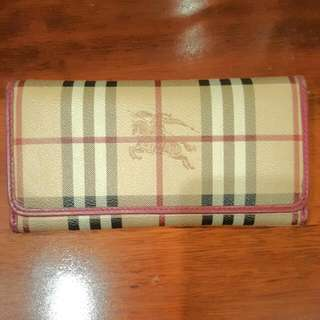Auethetic Burberry Pink Leather Wallet