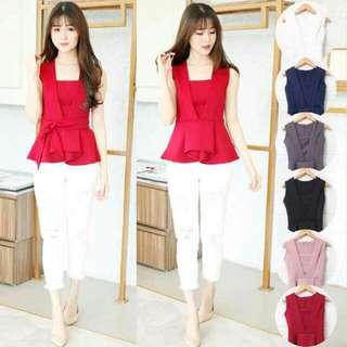 Baju Atasan Wanita Murah/Atasan Korea Import - Free 2in1 Belt