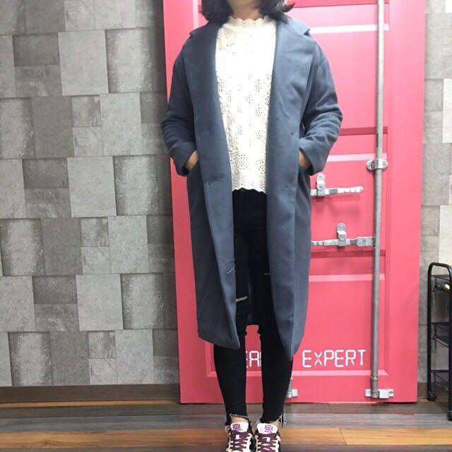 灰色韓版大衣