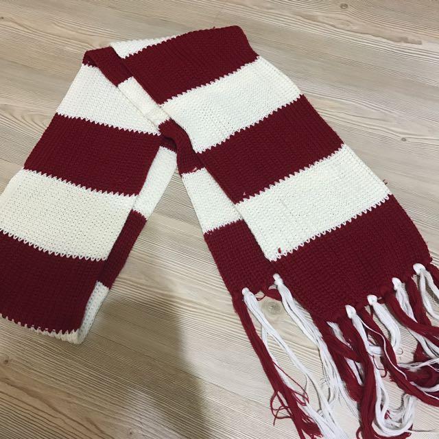 紅白條紋圍巾