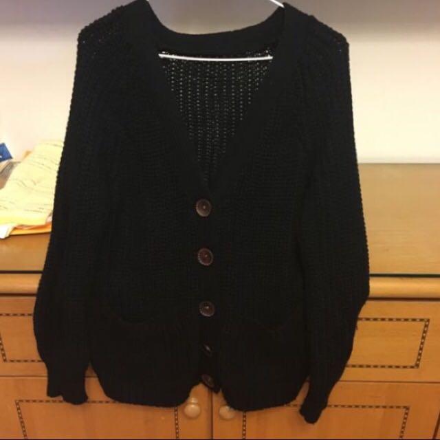 長版黑色針織外套