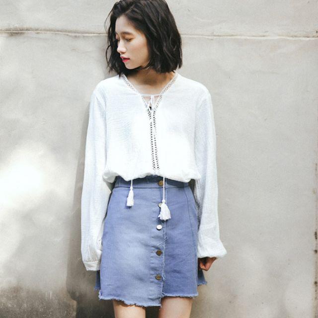 韓版熱銷新品小清新繫繩蕾絲襯衫 (184)