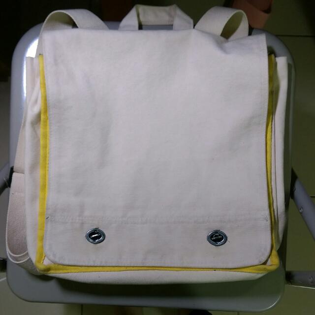 書包大王 雙肩帆布書包 白色書包淺黃邊