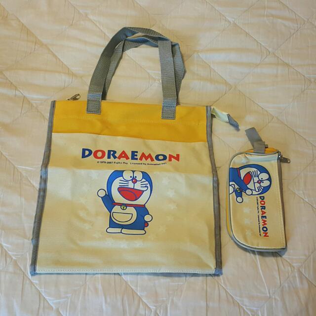 哆啦a夢小叮噹提袋+筆袋