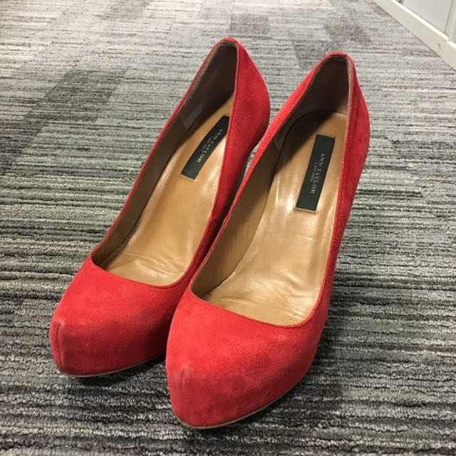 Ann Taylor Red velvet wedge