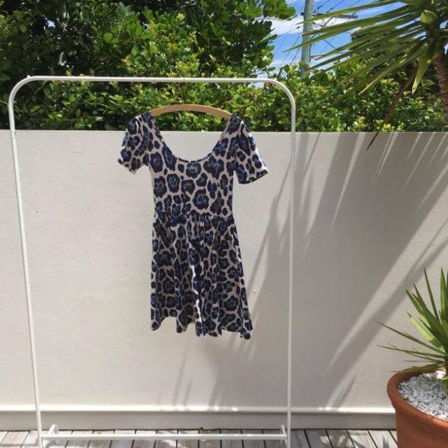 ASOS Blue Animal Print Mini Skater Dress