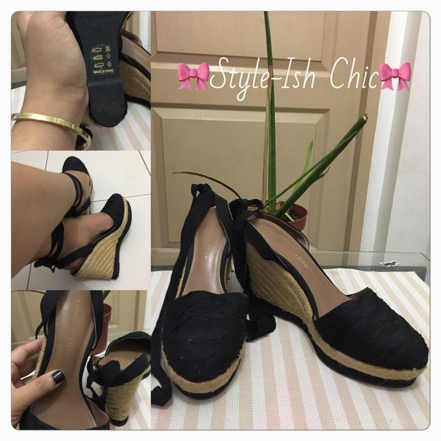 REPRICED: Authentic Charles & Keith Espadrille Lace-Up Wedge