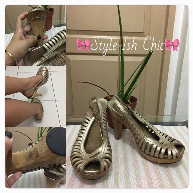 Authentic MK Gold Leather Open Toe Sling Back Wooden Heels with Metal Plate Branding👡💖🎀