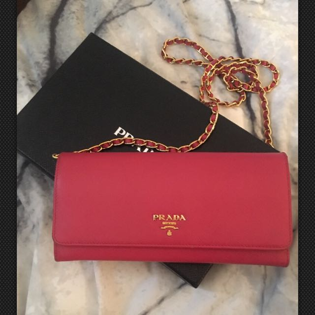 Authentic Prada Staffiano Leather Wallet On Chain Peonie