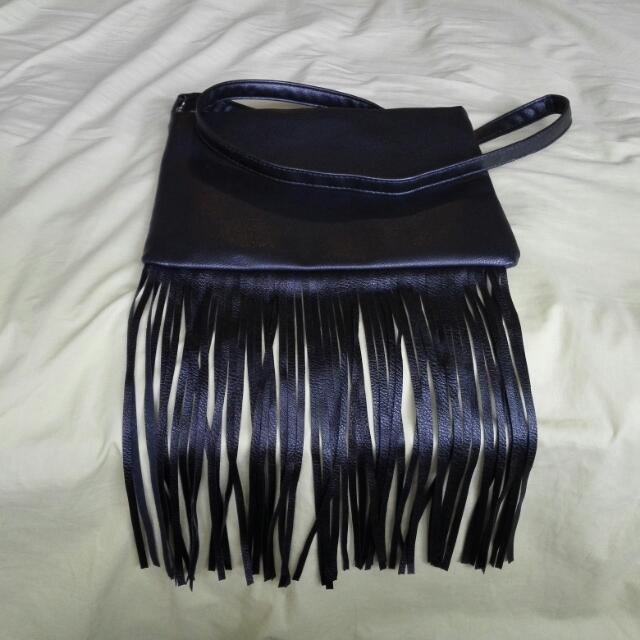 Black Fringe Sling Bag