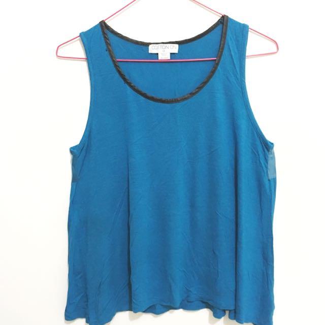 Blue Sleevless Shirt