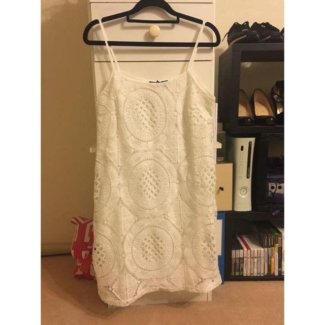BOOHOO White Petite Sara Crochet Strappy Midi [Brand New With Tags]