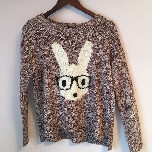 Burgundy Knit Bunny Sweater