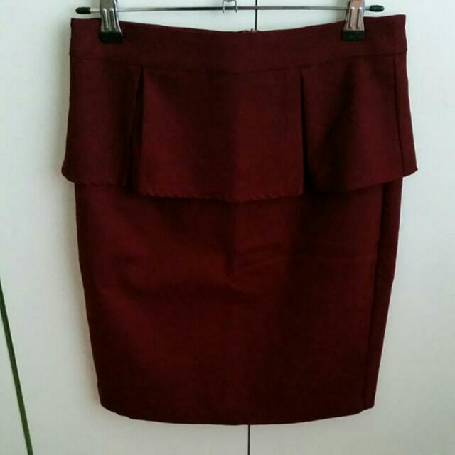 Burgundy Skirt Size 8