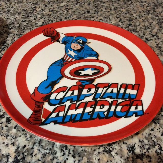Captain America Glass, Bowl , Plate Set .
